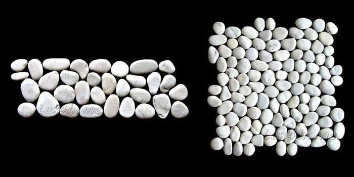 white pebble tiles